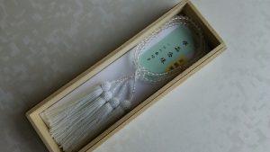 女性用2連数珠,白水晶切子(7mm玉) 正絹房1