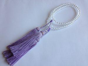 女性用2連数珠,ガラス 人絹房1
