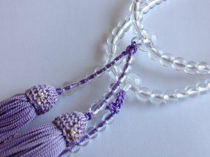 女性用2連数珠,ガラス 人絹房2