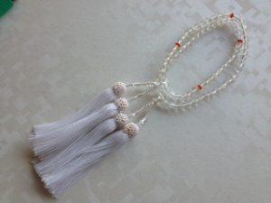 女性用2連数珠,プラスチック 人絹房1