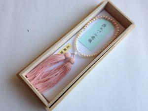 女性用数珠,淡水パールピンク 正絹房1