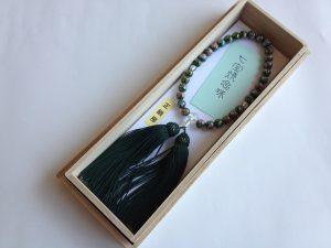 女性用数珠,七宝焼 正絹房(深いみどり)1