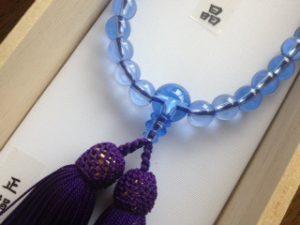 女性用数珠,青水晶 正絹房(むらさき)2