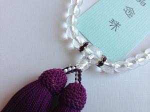 女性用数珠,水晶(アクセサリー入り)紫 (正絹房)2