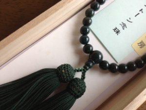 女性用数珠,ブラッドストーン(深い緑) 正絹房(深い緑)2
