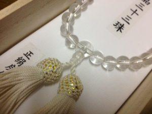 女性用数珠,白水晶三十三珠 正絹房(白)2