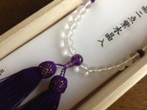 女性用数珠,白水晶二点紫水晶 正絹房2
