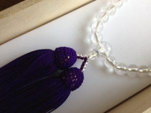 女性用数珠,水晶三十七珠 正絹房2