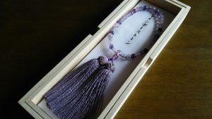 女性用数珠,レインボーストーン 正絹房(藤色)1