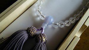 女性用数珠,白水晶 正絹房(藤色)2