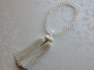 女性用数珠,白水晶三十七珠 正絹房1