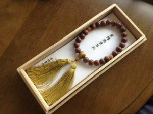 男性用数珠,紫檀虎目入り 正絹房1