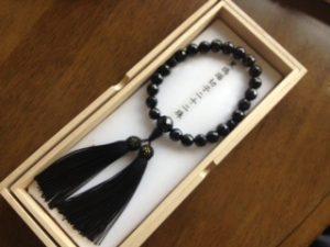 男性用数珠,黒瑪瑙切子二十二珠 正絹房1