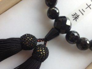 男性用数珠,黒瑪瑙切子二十二珠 正絹房2