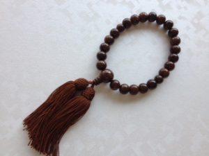 男性用数珠,紫檀(艶あり)人絹房1